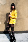 Yellow-yellow-sweet-jane-vintage-blazer-black-velvet-urban-outfitters-boots