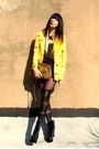 Black-velvet-urban-outfitters-boots-yellow-yellow-sweet-jane-vintage-blazer