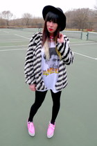 black striped Nasty Gal jacket - hot pink Jeffrey Campbell shoes