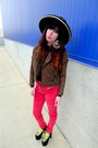 Brown-leopard-urban-outfitters-jacket-red-axl-unif-pants