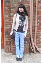 blue Levis pants - black south of the border shirt - beige vintage cardigan - bl