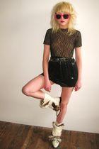 black vintage skirt - black vintage top - white vintage boots - pink dollar stor