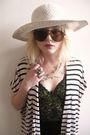 Beige-vintage-jessica-howard-cardigan-black-vintage-dress-white-vintage-hat-