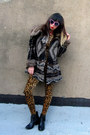 Brown-leopard-vintage-suit-black-fringe-jeffrey-campbell-boots
