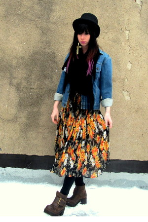 orange floral vintage skirt - dark brown ving Jeffrey Campbell boots