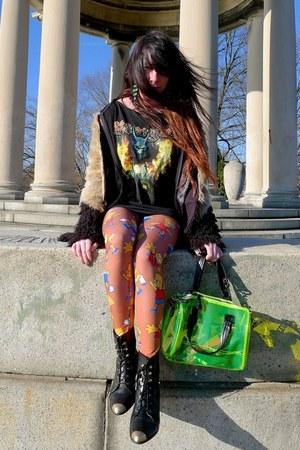 eggshell faux fur asos coat - black franca Miista boots