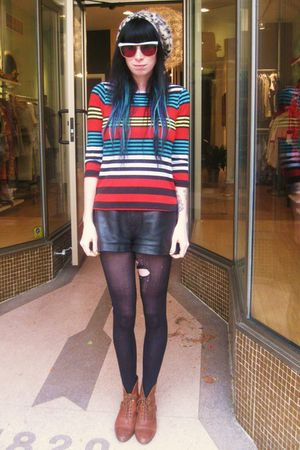 brown Urban Outfitters shoes - red Cheryl Tiegs shirt - white YSL glasses - brow