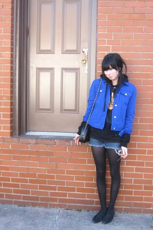 blue Ralph Lauren jacket - black t-shirt - black espirit shoes - black Chanel pu