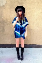 blue tie dye vintage dress