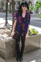 black vintage boots - purple vintage top