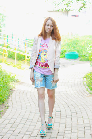 Stradivarius blazer - asos bag - asos shorts - milanoo wedges - Choies t-shirt