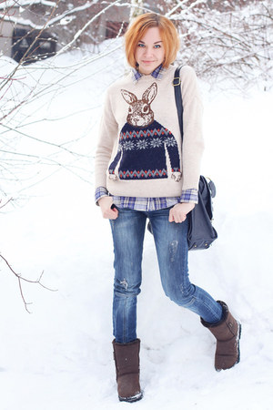 indressme sweater - navy Stradivarius jeans - navy Topshop bag