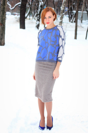 asos sweater - blue H&M heels - silver nowIStyle skirt