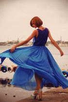 blue chiffon asos skirt - blue print River Island top