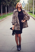 leopard print H&M coat - black retro Oasis dress - snakeskin Oasis heels