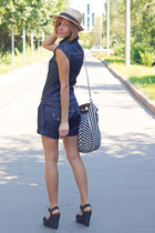 blue jeans Stradivarius romper - straw H&M hat - stripes Stradivarius bag