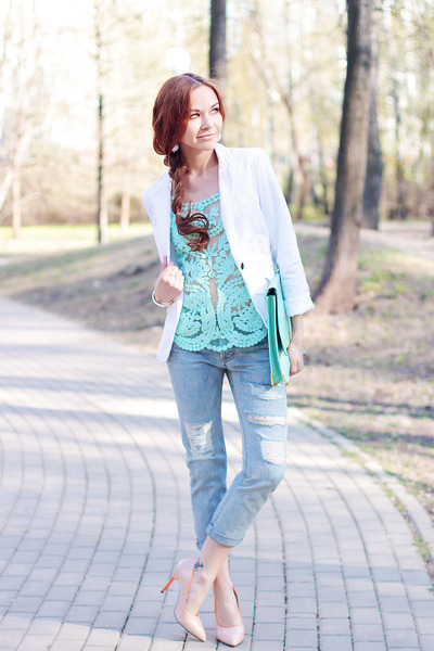 Chicwish top - Choies jeans - Choies hair accessory - Mart of China heels