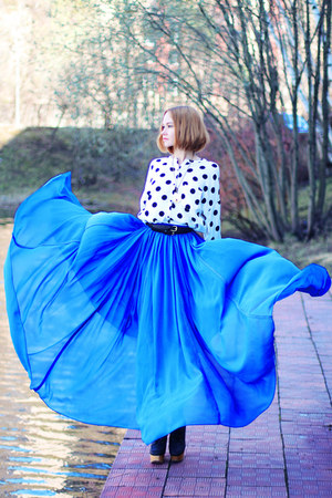blue asos skirt - nowIStyle blouse - Zara Taylor necklace