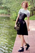 corset asos dress - jacquard asos bag - black All Saints wedges