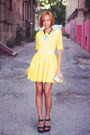 Yellow-lace-darling-dress-black-all-saints-wedges