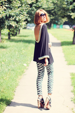 My Favorite tiara top - Sheinside jeans - zeroUV sunglasses