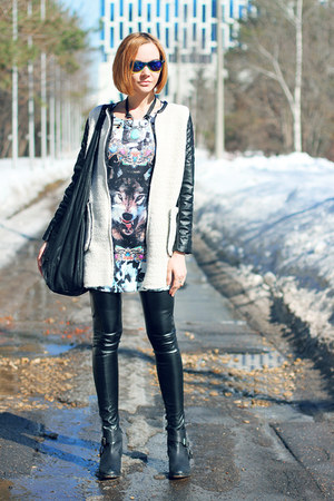 black asos boots - light blue Choies dress - off white Sheinside coat