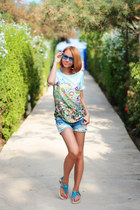 Sheinside top - chicnova shorts - zeroUV sunglasses