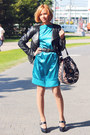 Teal-atlas-self-made-dress-black-rocker-vero-moda-jacket
