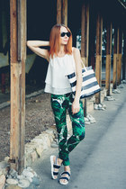 Sheinside pants - milanoo bag - zeroUV sunglasses - Sheinside top