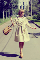 eggshell retro Mango dress - mustard Zara bag - mustard suede Rocket Dog wedges