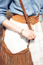 Brown-oasis-bag-white-chicwish-skirt-brown-zara-heels-zara-taylor-bracelet