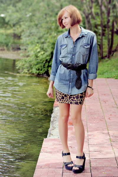 leopard print H&M dress - boyfriend H&M shirt - Mango belt - All Saints wedges