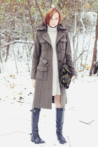 military Pepe Jeans coat - Guess boots - wool Uniqlo dress - asos bag