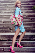 hot pink suede asos heels - Urban Outfitters coat - floral print Accessorize bag