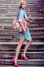 Urban-outfitters-coat-floral-print-accessorize-bag-hot-pink-suede-asos-heels