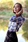 Checkered-mango-shirt-navy-topshop-bag-checkered-midi-mango-skirt