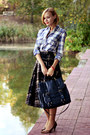 Checkered-mango-shirt-navy-topshop-bag-checkered-midi-mango-skirt