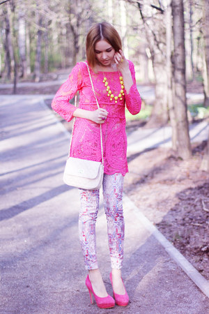 yellow Style Lately necklace - hot pink Choies dress - asos bag