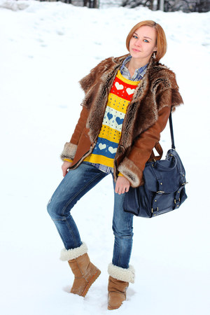 Udobuy sweater - mustard celtic boots - navy Stradivarius jeans