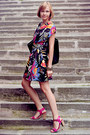 Floral-print-motel-dress-black-cotton-reiss-bag-magenta-asos-heels