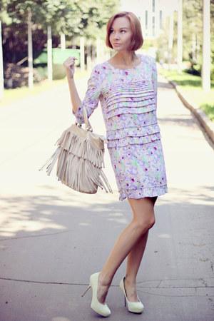 aquarel print H&M dress - eggshell fringe Mango bag - eggshell suede asos heels
