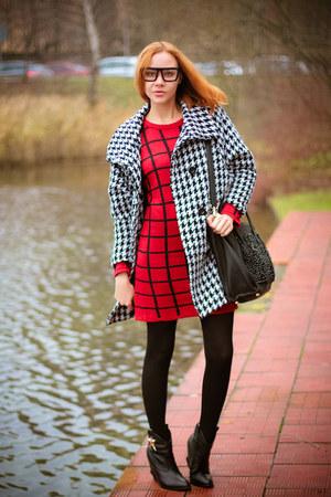 Sheinside coat - Choies boots - Choies dress - zeroUV glasses