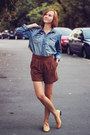 Zara-bag-blue-jeans-h-m-shirt-brick-red-suede-mango-shorts