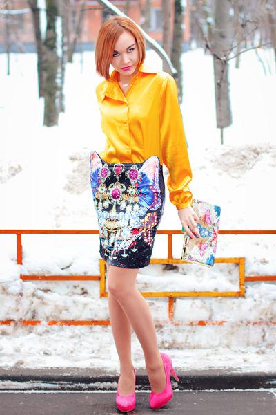 Choies skirt - Accessorize bag - hot pink asos heels
