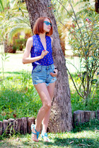 Sheinside blouse - Sheinside shorts - zeroUV sunglasses