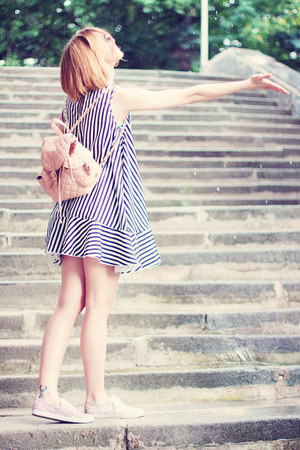 strip JollyChic dress - asos bag - H&M sneakers