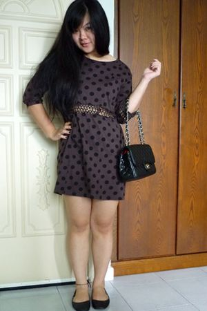 brown Zara dress - black bag - black rubi shoes