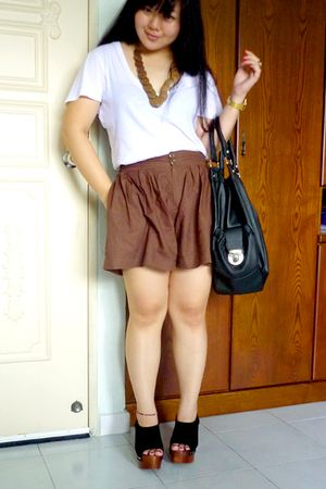 brown shorts - white Forever 21 t-shirt - brown vintage necklace - black Topshop