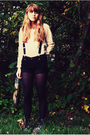 Ralph Lauren top - shorts - tights - doc martens boots