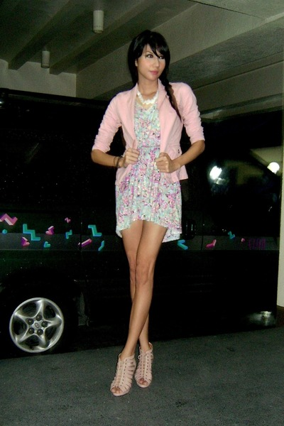 pink Forgot blazer - pink SM dress - white random from Bangkok necklace - beige